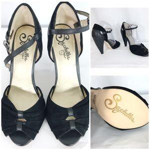 Seychelles Black Strappy Heels